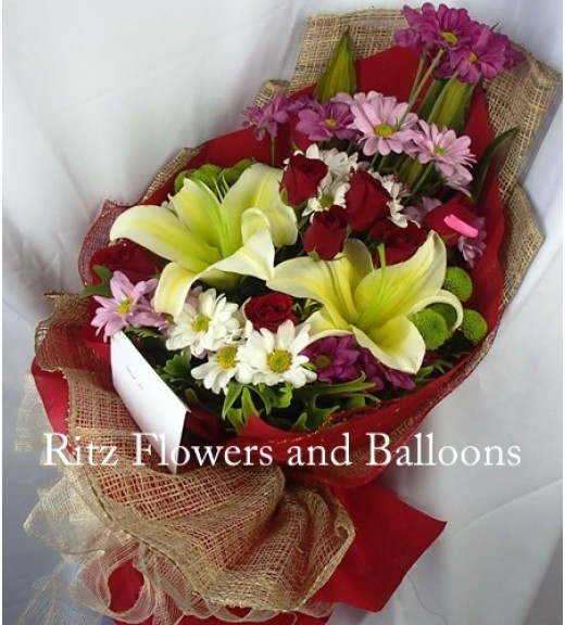 Six Red Roses with Mums & Lilies