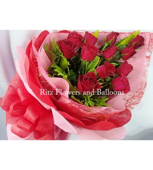 One Dozen Red Roses Cascading Bouquet