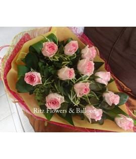 One Dozen Pink Roses Cascading Bouquet