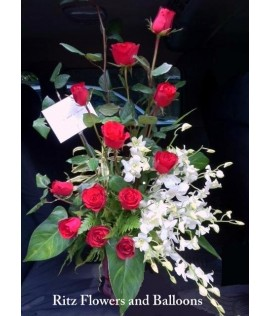 One Dozen Red Roses with White Orchids in a Glass Vase