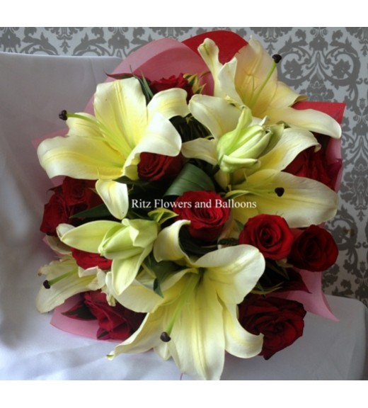 One Dozen Red Roses with Lilies
