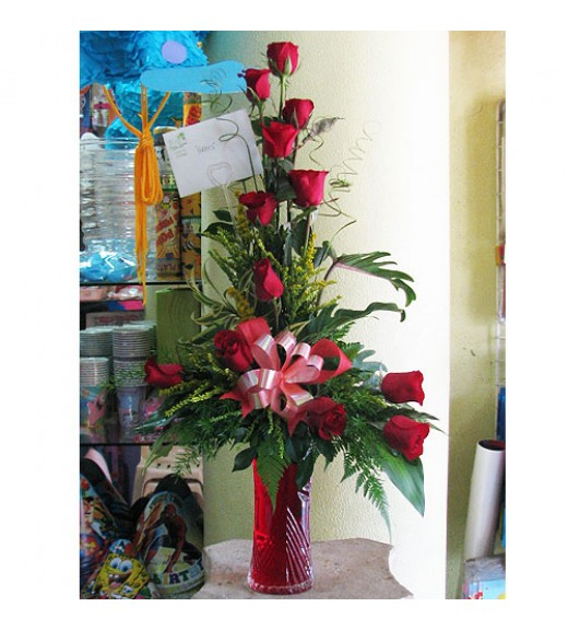 One Dozen Red Roses in a Vase