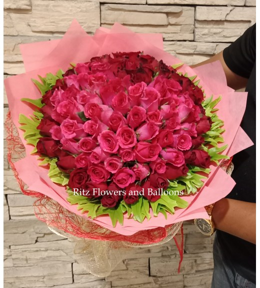 One Hundred Pink Roses Bouquet