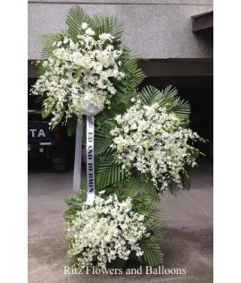 Three Layer All White Orchid Floral Stand