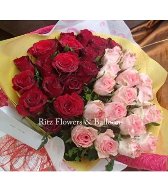 Three Dozen Red & Light Pink Roses Round Bouquet