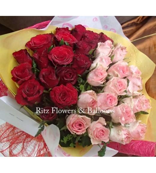 Three Dozen Red & Light Pink Roses Round Bouquet