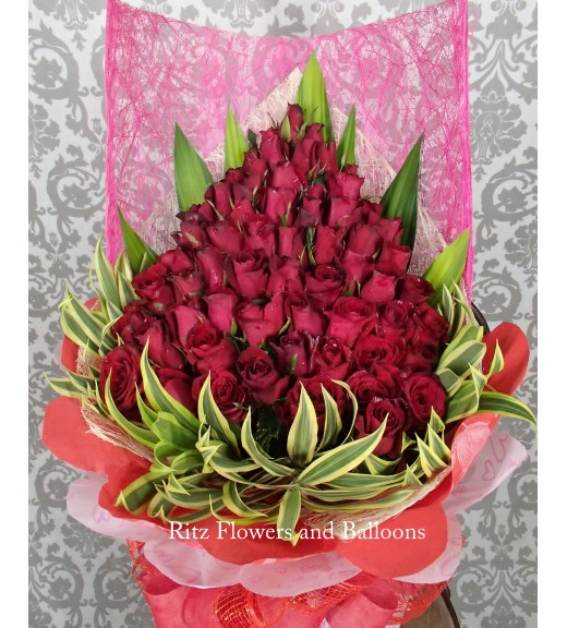Five Dozen Red Roses Cascading Bouquet