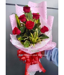 Six Red Roses Bouquet