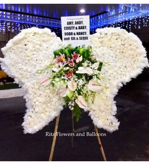 Angel's Wings Sympathy Floral Stand