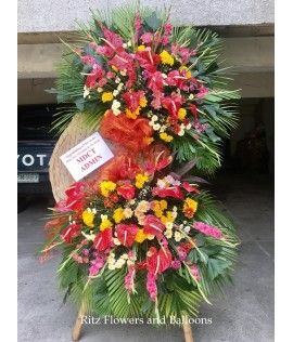 Congratulatory Floral Stand - Anthurium with Gladiola