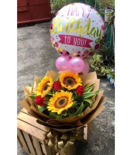 3 Sunflowers with 3 Red Roses Bouquet + Happy Birthday Balloon