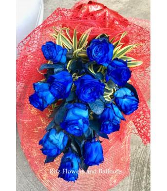 One Dozen Blue Ecuadorian Roses