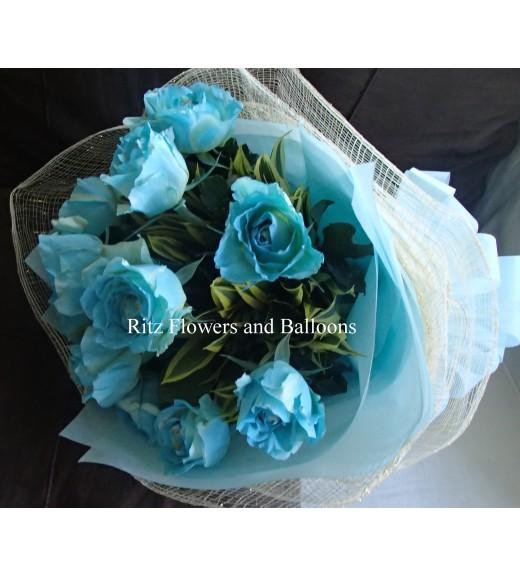 One Dozen Blue Roses Round Bouquet
