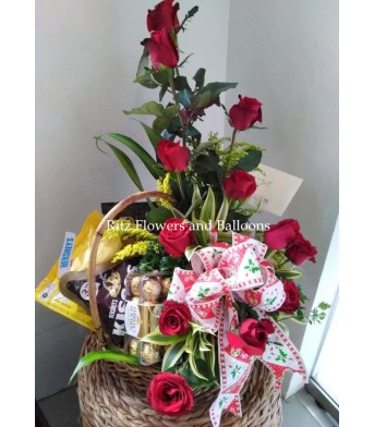 One Dozen Roses with Chocolates in a Basket
