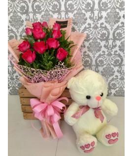 One Dozen Pink Roses + Medium Teddy Bear