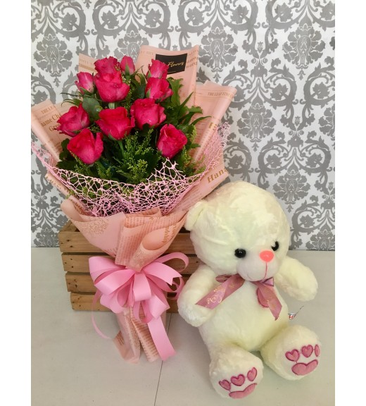 One Dozen Pink Roses + Medium Teddy Bear