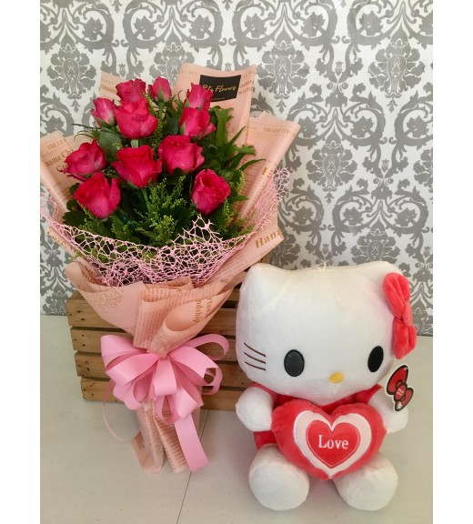 One Dozen Pink Roses with Hello Kitty