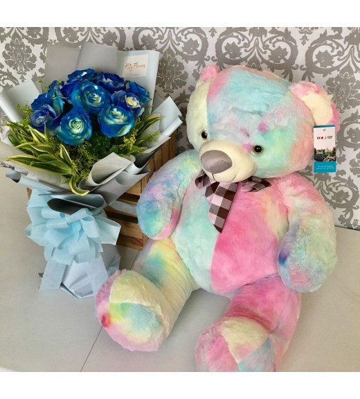 One Dozen Dark Blue Roses + Rainbow Bear