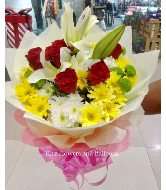 Five Red Roses with Lilies and Assorted Mums