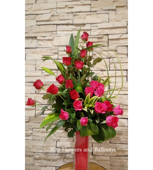 Two  Dozens Pink and Red Roses in a Vase
