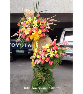 Congratulatory Floral Stand - Lilies with Assorted Flowers
