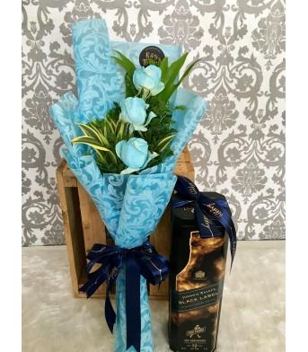 Three Blue Roses + Johnnie Walker Black