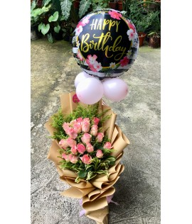 Two Dozens Light Pink Roses with Happy Birthday Balloon
