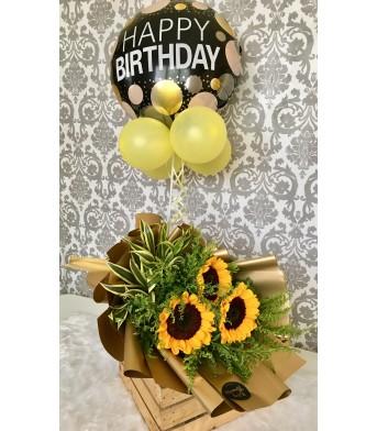 Three Sunflowers + Happy Birthday Balloon