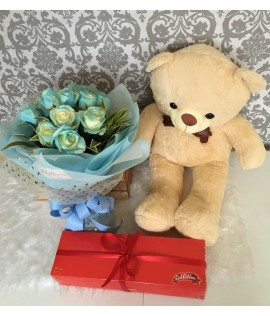 One Dozen Light Blue Roses + Light Brown Bear + Chocolate Roll