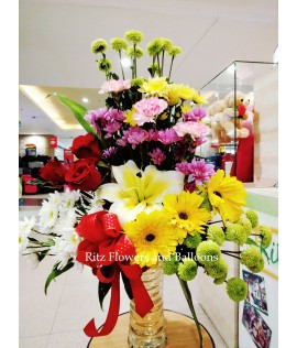 Assorted Colorful Flowers in a Vase
