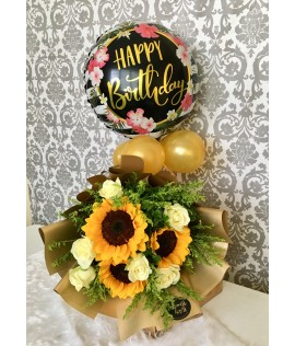 3 Sunflowers with 6 white Roses & A Happy Birthday Balloon