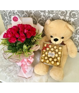 Two Dozens Pink Roses + Light Brown Bear + Ferrero Chocolates