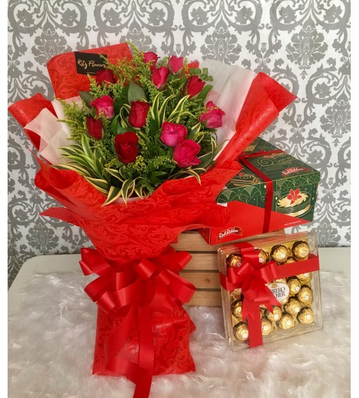 One Dozen Red Roses Bouquet + Red Ribbon Cake + Ferrero Chocolates