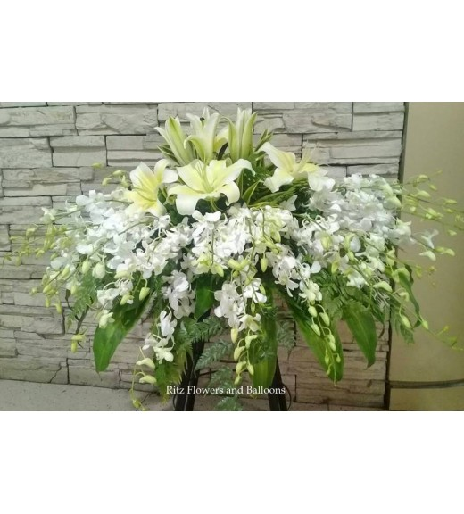 White Orchids/Lilies Coffin Spray