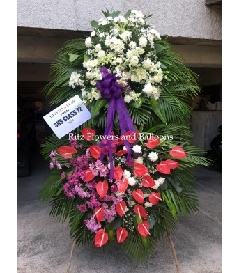 Red Purple and White Floral Stand