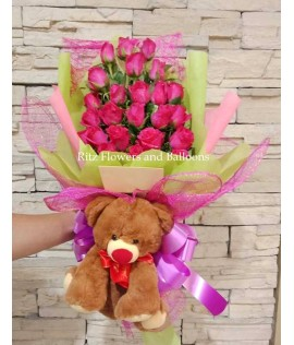 Two Dozen Pink Roses with Small Bear