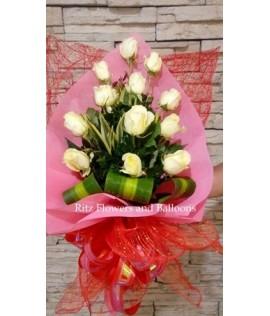 One Dozen White Roses Bouquet
