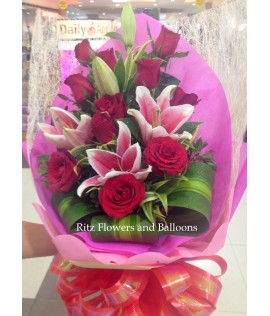 One Dozen Red Roses with Pink Lilies