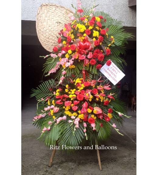 Congratulatory Floral Stand - Roses with Assorted Flowers
