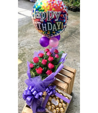 One Dozen Pink Roses (Purple Wrap) + Happy Birthday Balloon + Ferrero Chocolates